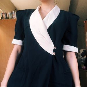 ☾ Vintage 80's does 40's navy wrap dress